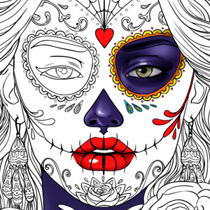 line artsy purchase dia de muertos adult coloring page
