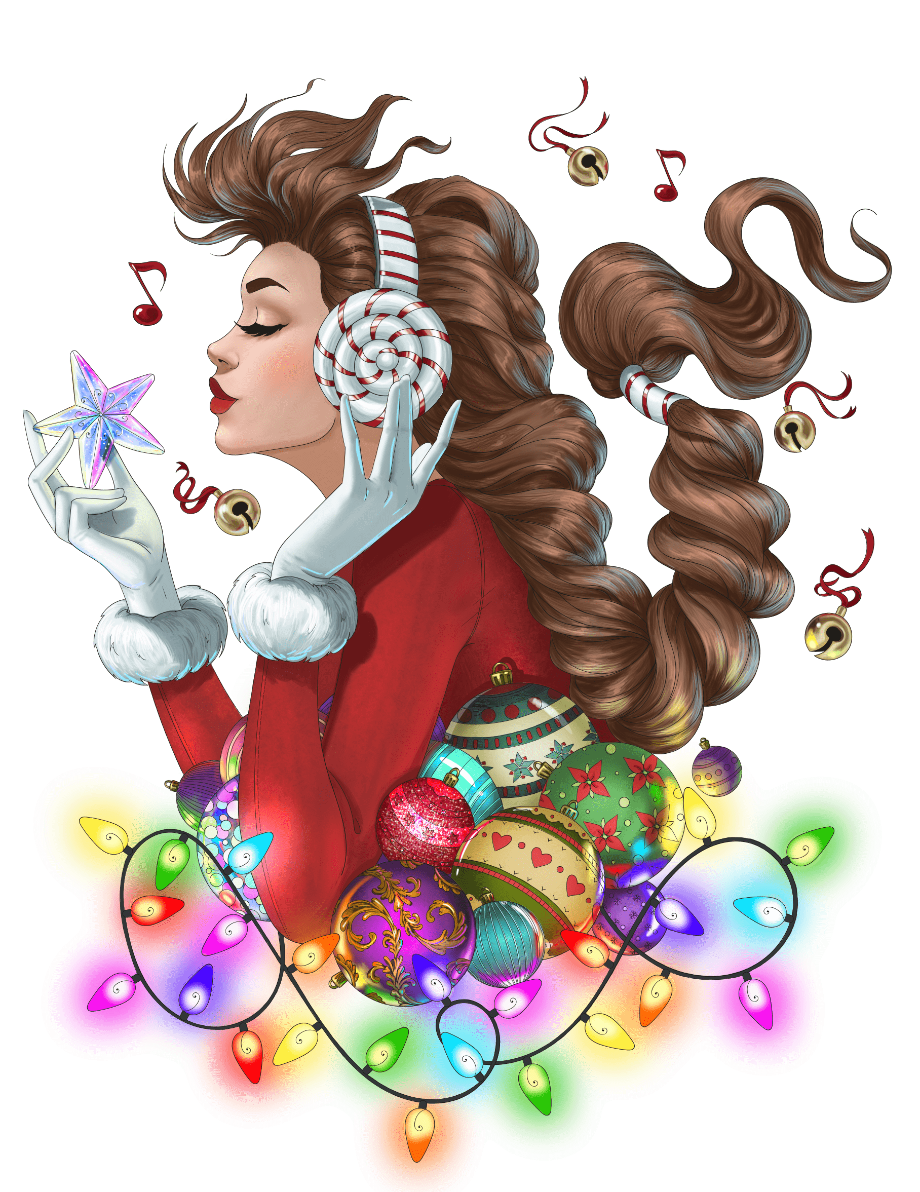 Line Artsy - Free adult coloring page - Christmas 2018 (colored)