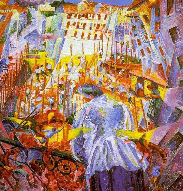 """futurismo """"La calle penetra en el edificio"""" , de Umberto Boccioni (1911)."""