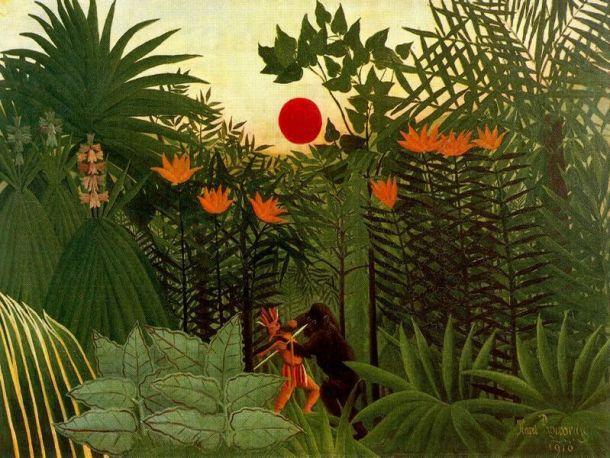 """Rousseau """"Paisaje exótico: lucha entre un gorila y un indio"""" (1910)."""