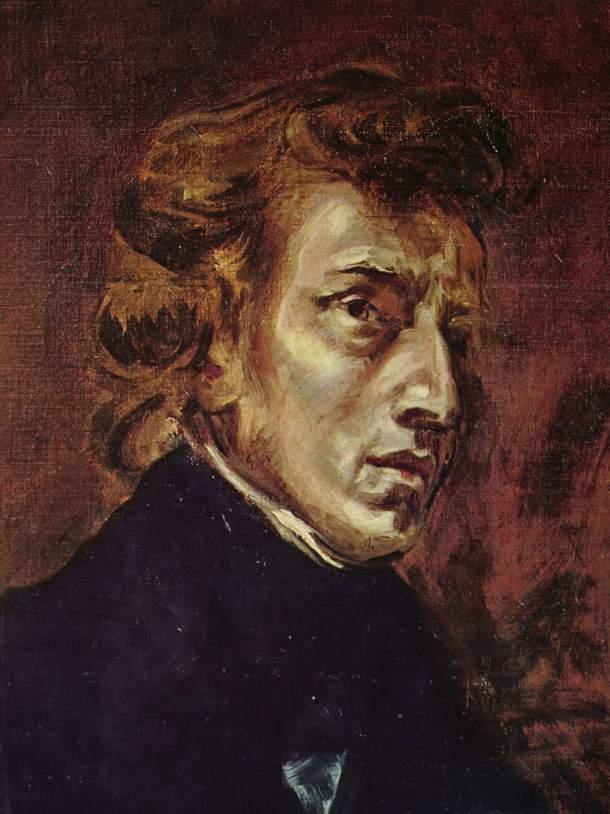 Retrato inconcluso de Chopin, por Eugène Delacroix.