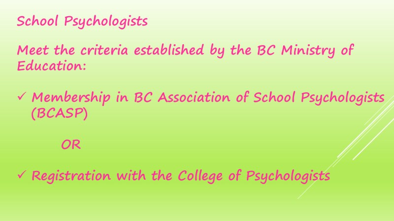 The Process of Psychology Assessments in schools 23