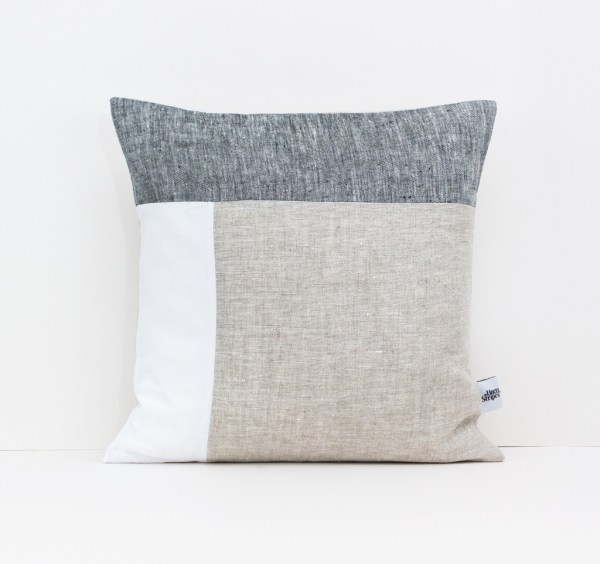 Color Block Pillow in Dark Gray White and Beige Geometric Cushion Linen throw pillow Decorative cushion case Eco friendly linen 1