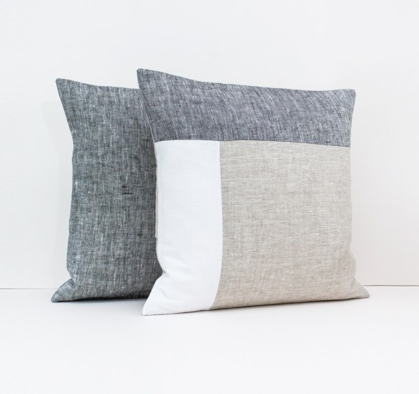 Color Block Pillow in Dark Gray White and Beige Geometric Cushion Linen throw pillow Decorative cushion case Eco friendly linen 2