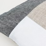 Color Block Pillow in Dark Gray White and Beige Geometric Cushion Linen throw pillow Decorative cushion case Eco friendly linen 3