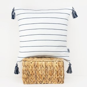 new tassel navy Linen and Stripes cushion 1b