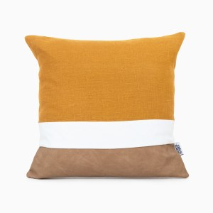 geometric orange linen and stripes cushion cover