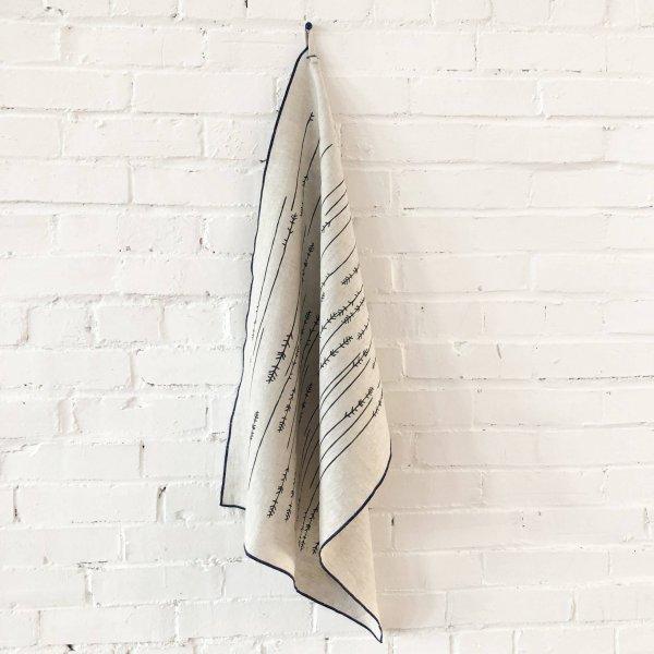 Erin Flett - Worn Black Twigs Linen Tea Towel