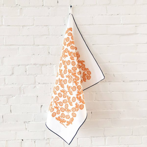 Erin Flett - Tangerine Wallflower Linen Tea Towel