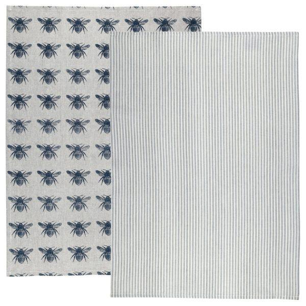 Raine & Humble - Prussian Blue Honey Bee Tea Towel Pack