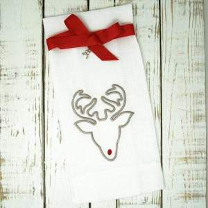 Crown Linen Designs - Rudolph Linen Holiday Towel