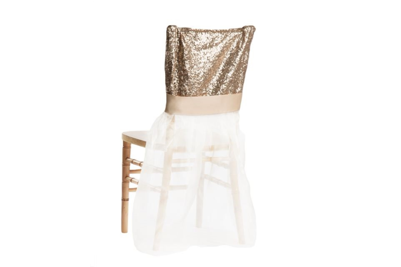 Champagne Chair Covers Champagne Glimmer Organza Chair Ensemble