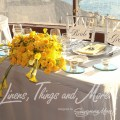 Wedding bride and groom table decor yellow and dove gray cabo sunset