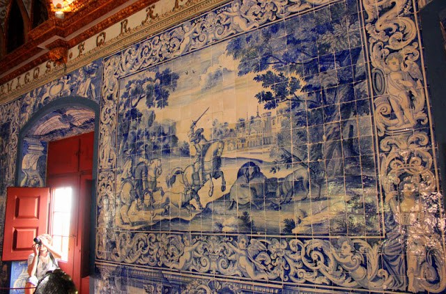 Painted tiles at Sintra National Palace