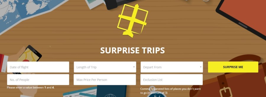 Surprise Trips booking form