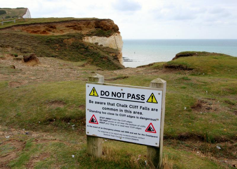 Cliff warning signs at Seven Sisters