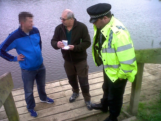 1.EA Fisheries Enforcement Officer Mick Cox reports an angler without a valid rod licence on the Thames near Slough, whilst on a joint patrol with PC Ian Whitlock of Thames Valley Police during Operation CLAMP DOWN 2.