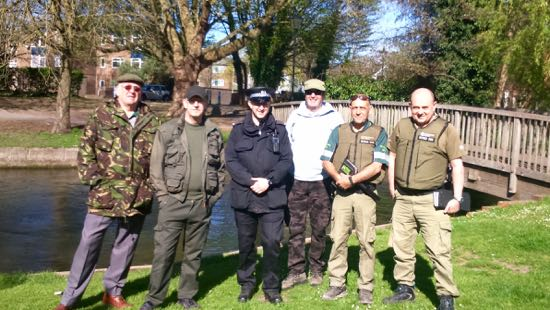 Volunteer Bailiffs protecting Hampshire's rivers with Hampshire Police and Environment Agency fisheries enforcement officers.
