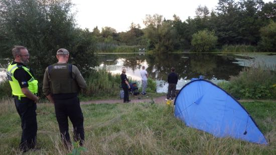 Cheshire Police and the EA giving Pheonix Park Lake some attention. The criminal and Anti-Social Behaviour element has to be addressed to ensure that our waterways are safe to enjoy what should be a peaceful and relaxing pastime – we're on it!