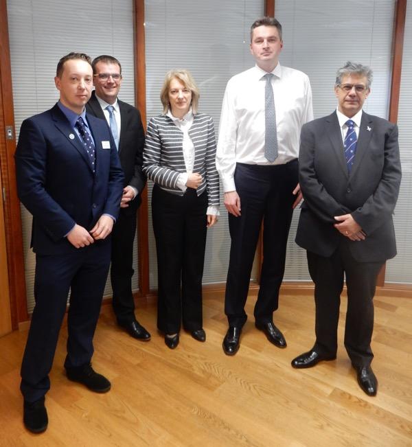 The Lithuanian Ambassador in England, Asta Skaisgiryte Liauskiene, pictured with, from left: Building Bridges Project Officer Martynas Pranaitis; Project Manager Rado Papiewski; Daniel Kawczynski MP; Dilip Sarkar MBE.