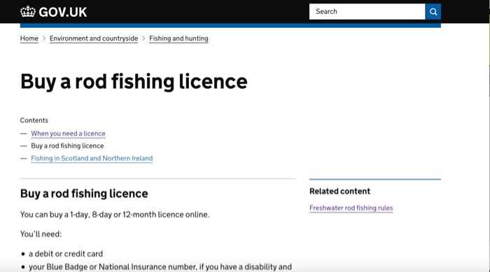Official fishing licence UK