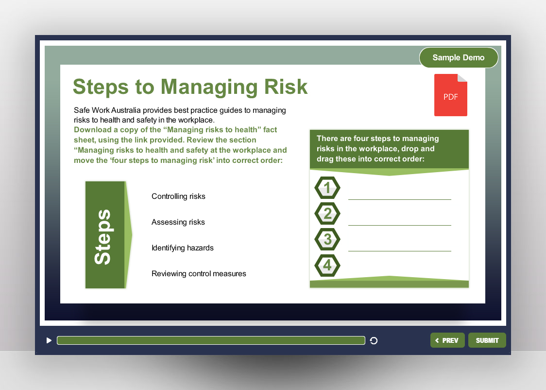 Managing Risk in the Workplace Off the Shelf Course