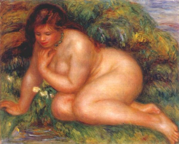 bather admiring herself in the water watercolor by Renoir