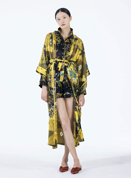 MENG silk printed robes and pajamas on Lingerie Briefs