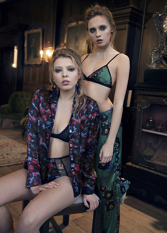 Violet & Wren silk print pajamas & robes on Lingerie Briefs