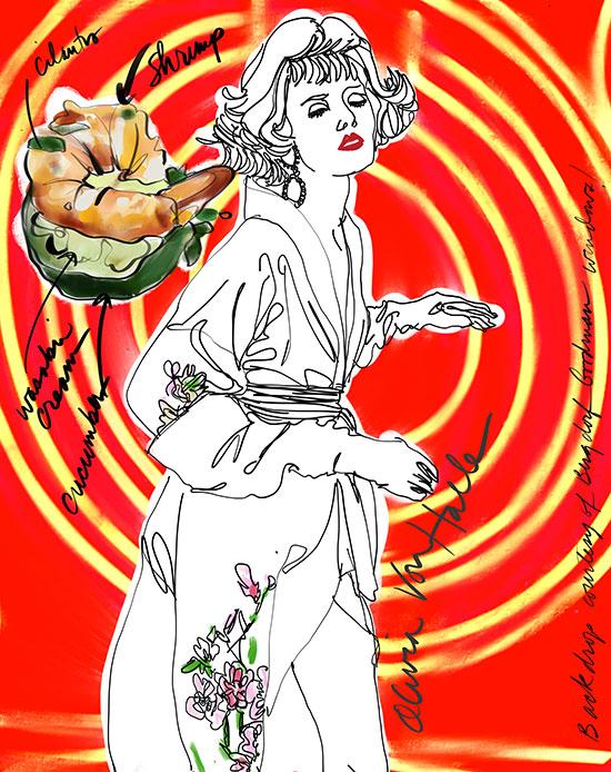 Olivia Von Halle Queenie Kika Kimono fashion illustration by Tina M. Wilson on Lingerie Briefs
