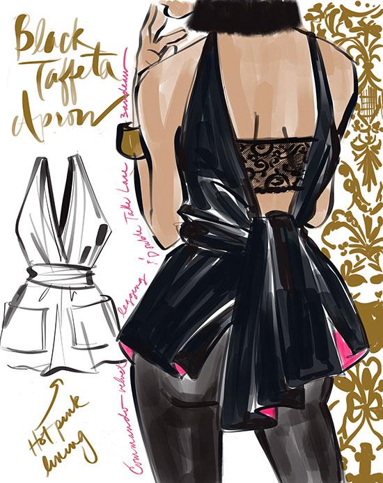 Commando leggings and black taffeta slip illustrated by Tina M Wilson on Lingerie Briefs