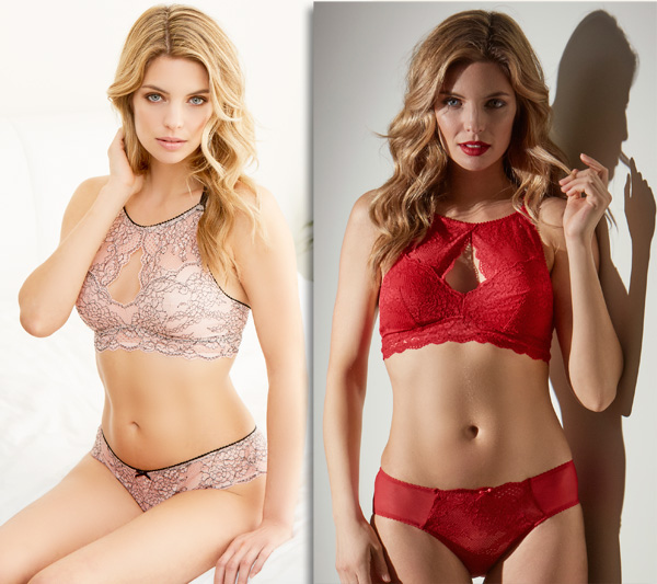 High Neck Bralette available in both Tango Red and Seashell/Black - Cabaret Kisses Collection