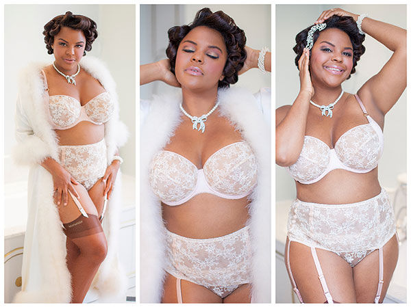 Jenny Rieu Bridal Editorial for My Grande Taille Magazine shot by Jason Kamimura on Lingerie Briefs