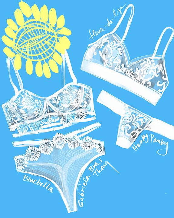 Blubella Gabriela & Hanky Panky fleur de lys bridal lingerie illustrated by Tina Wilson on Lingerie Briefs