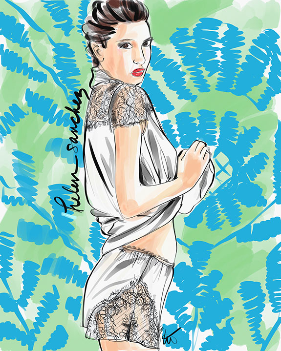 Helen Sanchez silk short PJs illustrated by Tina Wilson for Lingerie Briefs