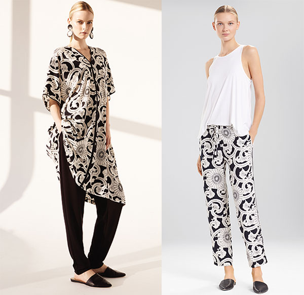 Natori Silk Road print caftan and pajamas on Lingerie Briefs