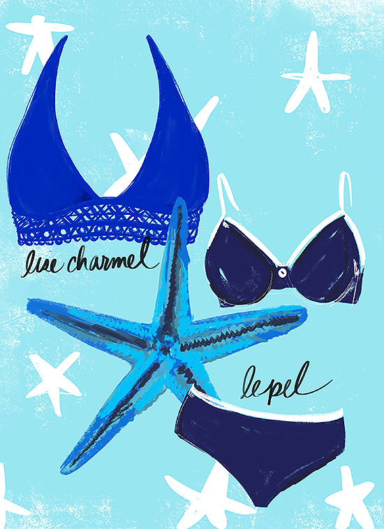 Lise Charmel and Lepel Swimwear illustrated by Tina Wilson for Lingerie Briefs