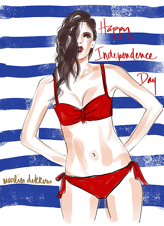 Marlies Dekkers Swimwear illustrated by Tina Wilson for Lingerie Briefs