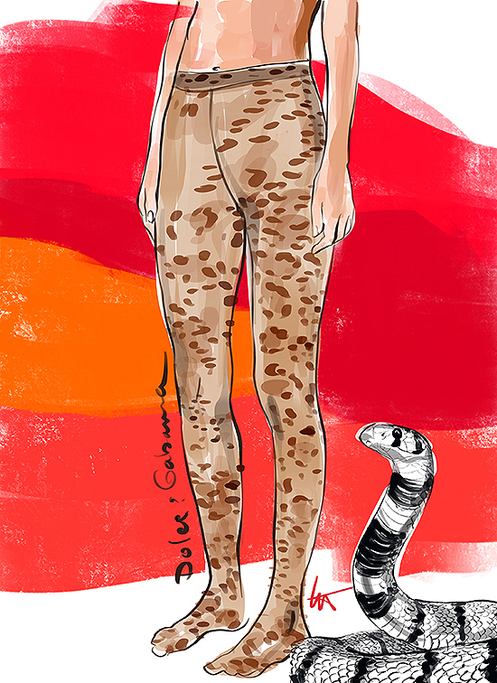 Fashion Illustration by Tina Wilson of D&G tights exclusively for Lingerie Briefs