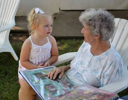 Nan, two years ago with her great granddaughter Molly.