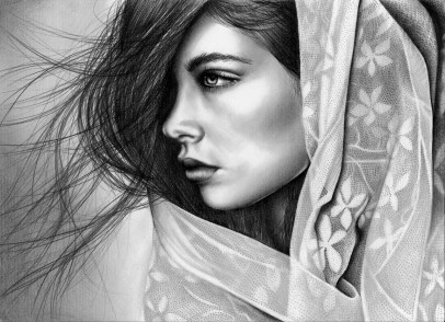Lace Portrait drawing by Ling McGregor