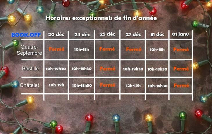 Horaires exceptionnels de décembre
