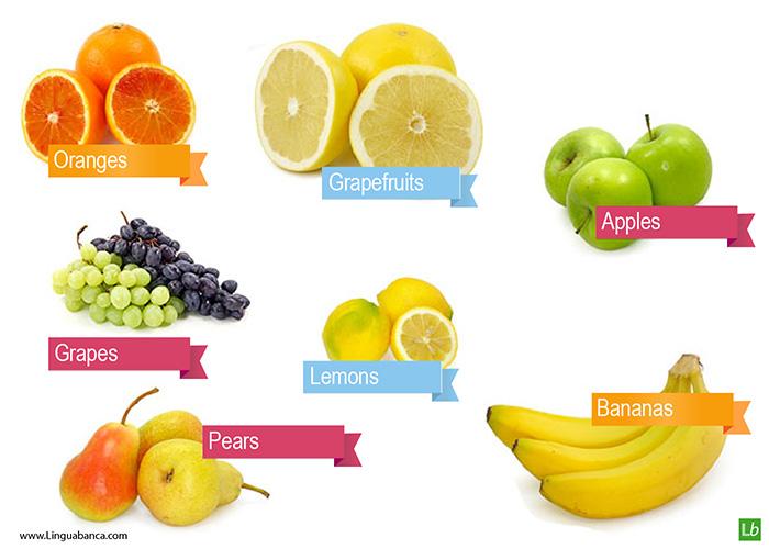 words for fruits apples lemons