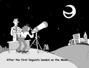 "Cartoon of a schwa-shaped moon with the caption ""After linguists first landed on the moon . . ."""