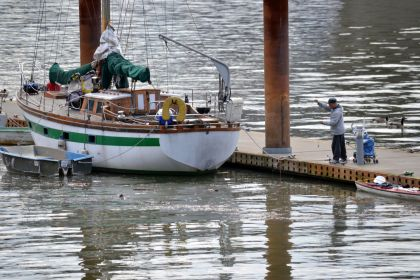 A boat on the Willamette River