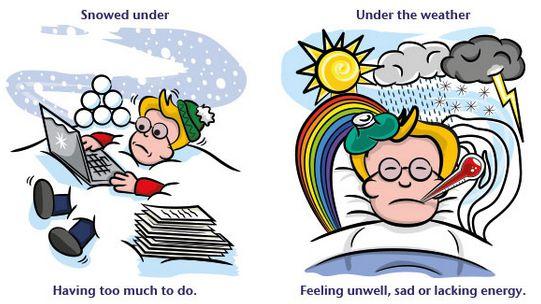 Английские идиомы о погоде про снег и болезни
