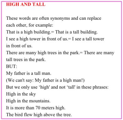 Топики по темам: high and tall
