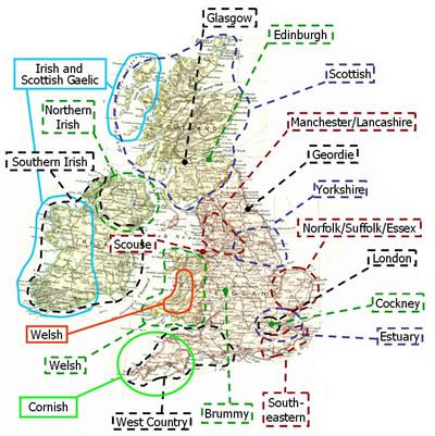 Английские диалекты, карта