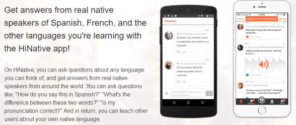 письменный английский, приложение для смартфонов hinative