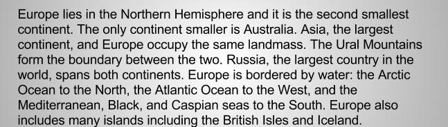 Европа текст на английском. Часть 1